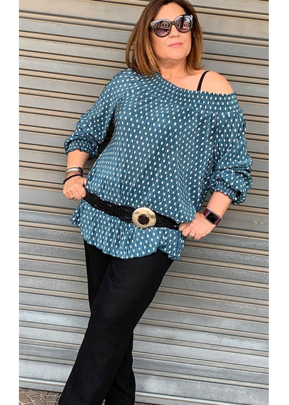 blusa lunares topos mejicana hombros tallas grandes curvy ideal comoda fresquita
