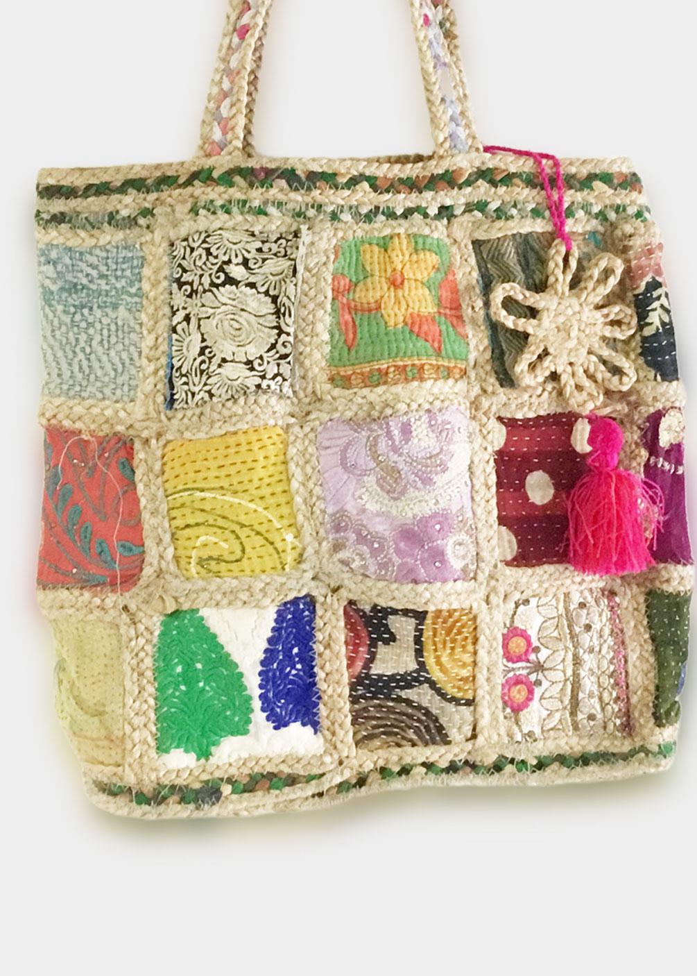 bolso patchwork shopper grande yute comodo bonito colores interior forrado bolsillos