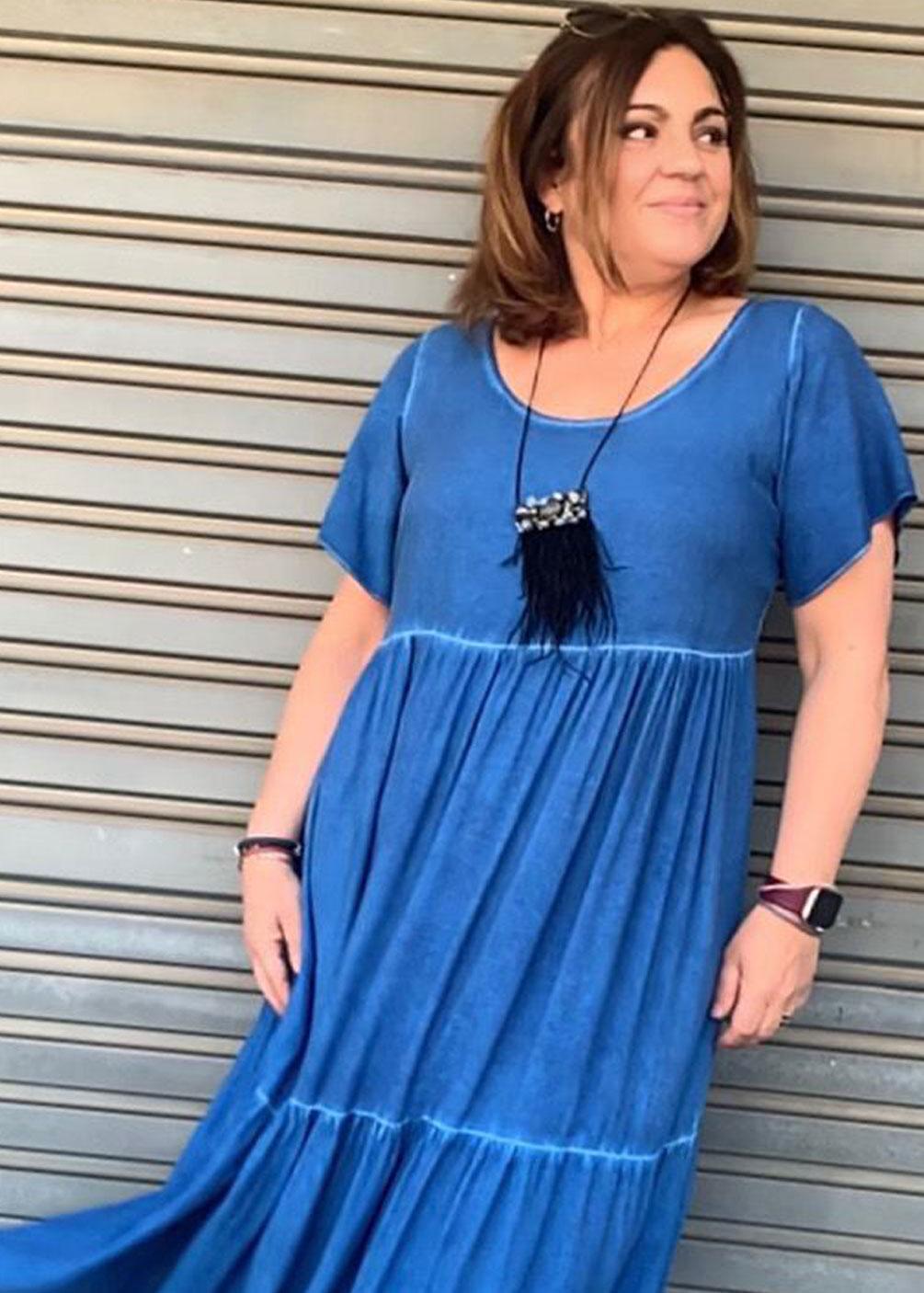 Vestido largo garment dye tinte prenda tallas grandes curvy verano
