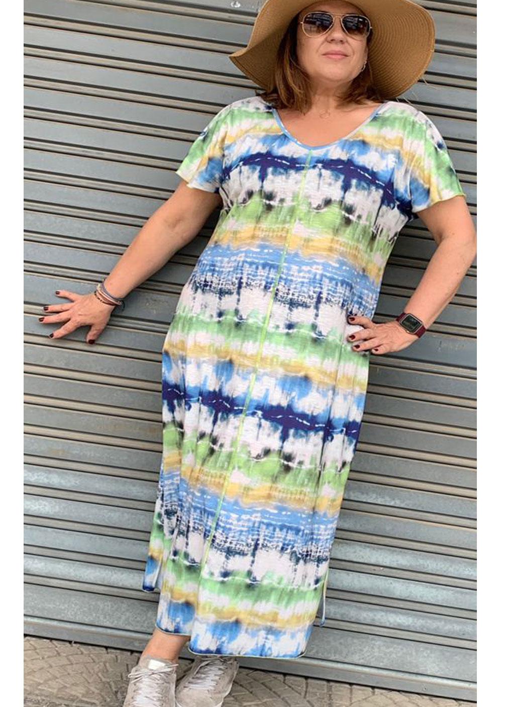 Vestido playero tallas grandes curvy verano fresco comodo fashion tie dye