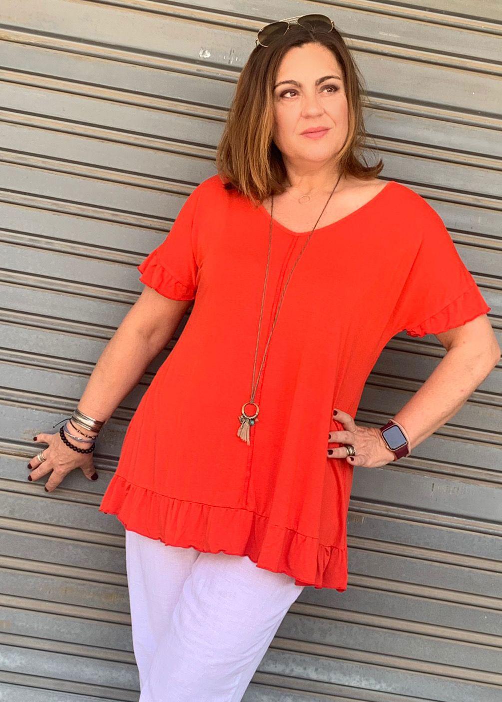 Camiseta punto circular volante tejido suave fluida verano tallasa grandes curvy comoda
