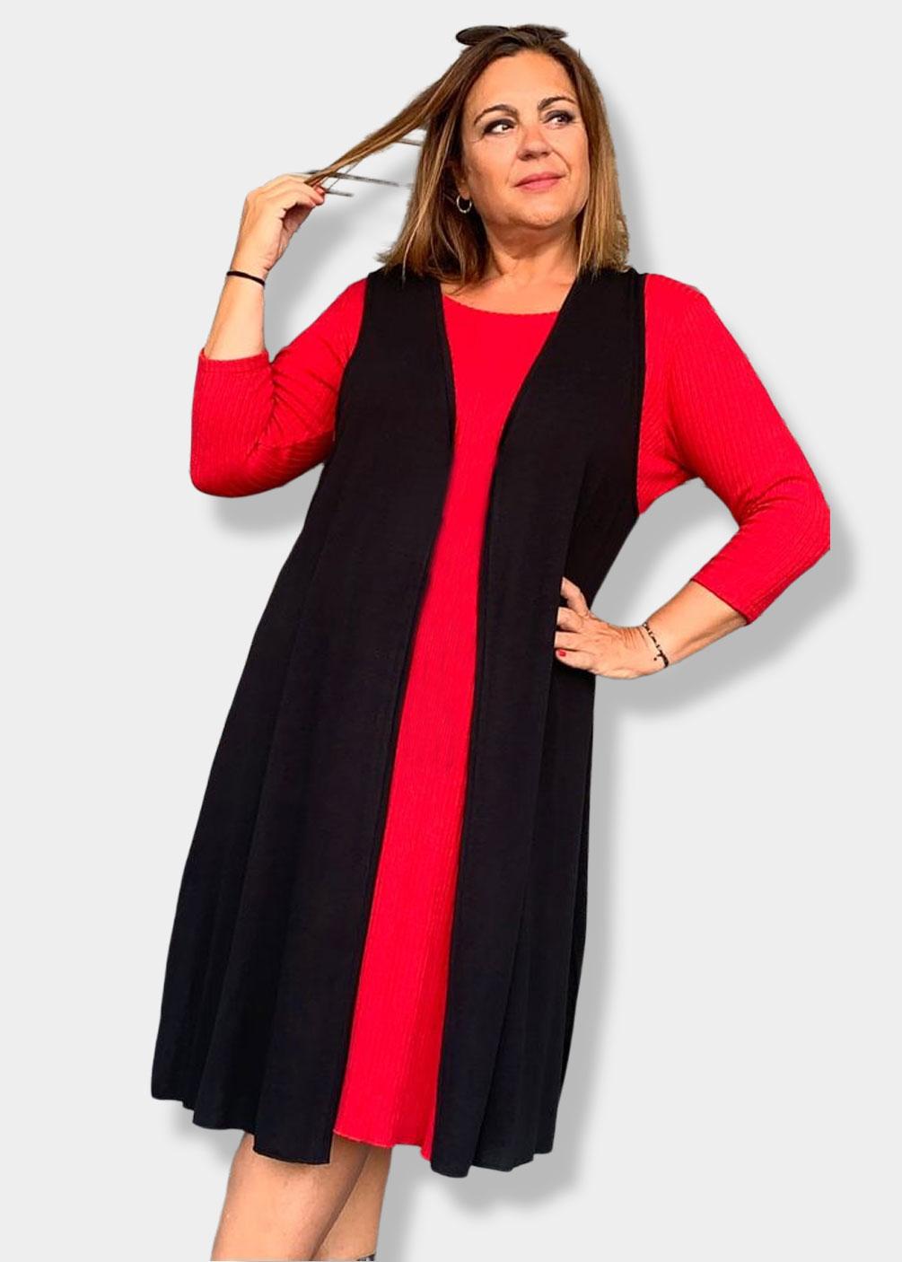 vestido rojo punto indra tallas grandes