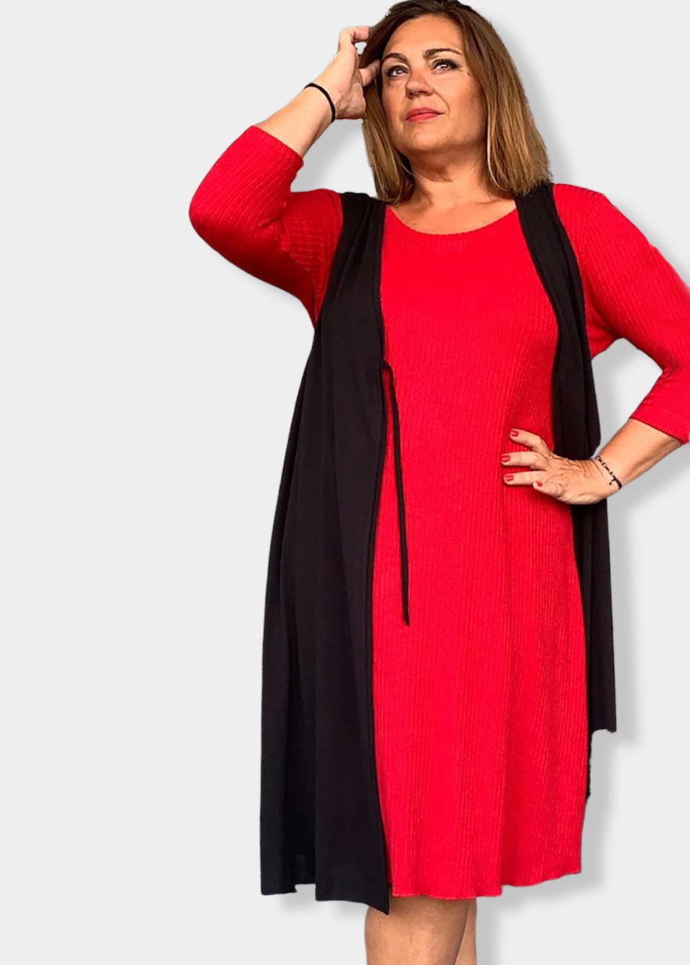 vestido rojo indra españa tallas grandes punto