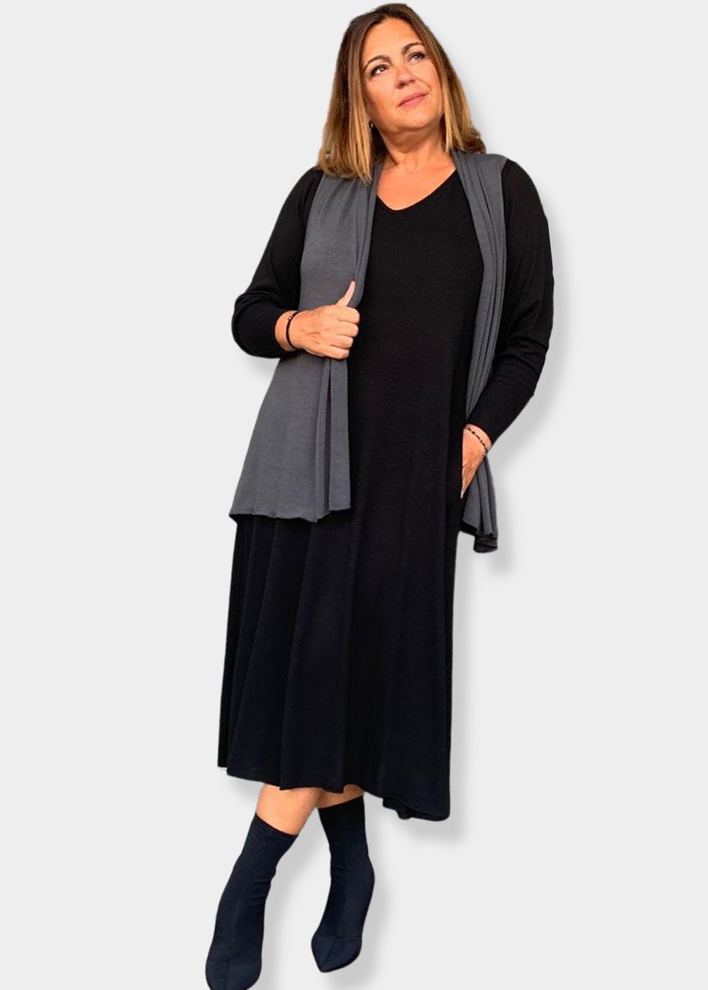 vestido negro punto talas grandes curvy indra