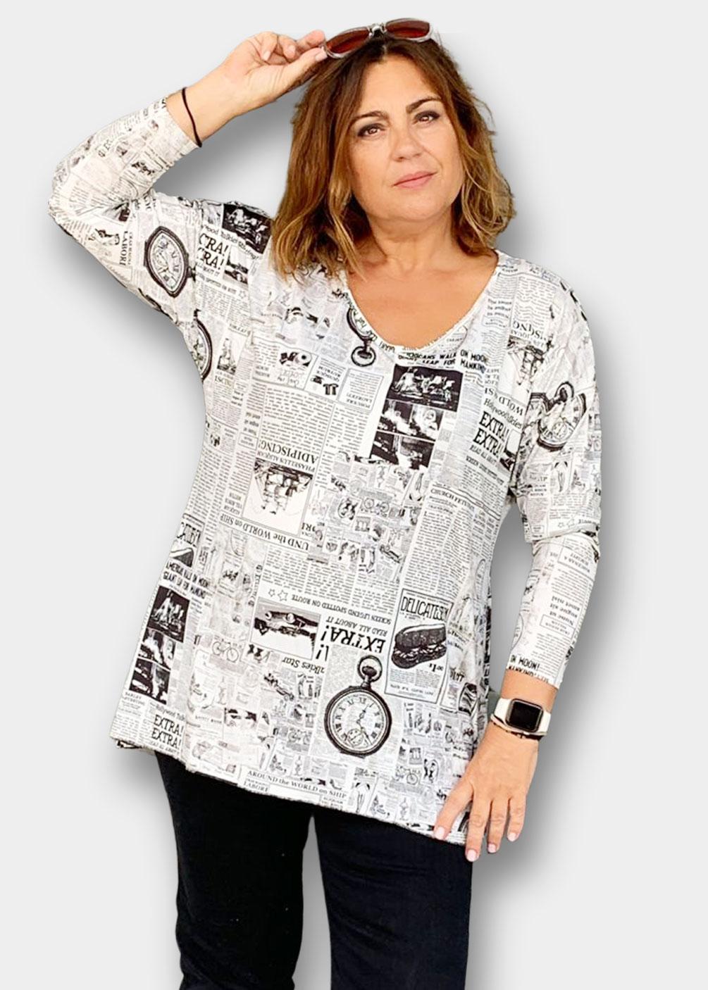 camiseta jersey punto tallas grandes indra auzu 2021 2022 otoño curvy plus size